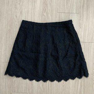 J.Crew 10 Skirt Lace Dark Blue Black A-line Mini